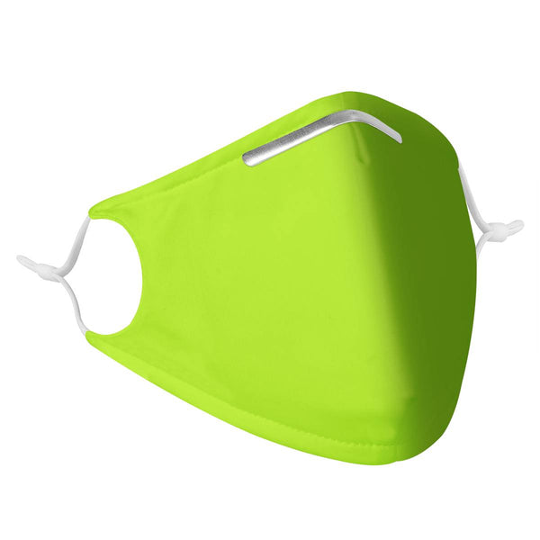 Youth Kids Solid Neon Lime Green Mask | CDC Rec 3 Layer Face Mask w/ Fitted Nose Wire, Anti Dust Filters, Reusable, Adjustable Straps (Handmade)
