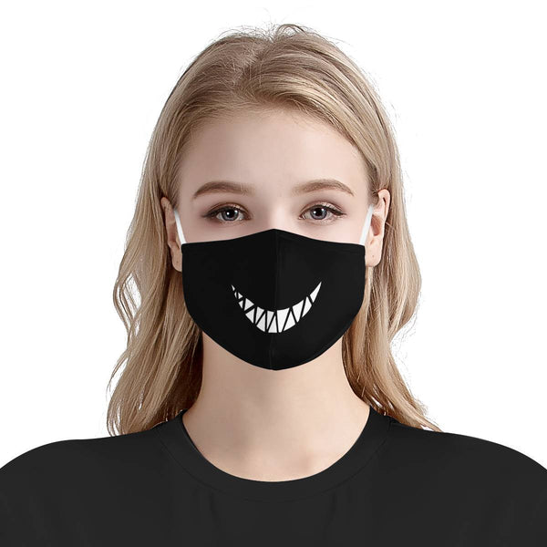Cute Devil Monster Smile Teeth | CDC Rec 3 Layer Face Mask w/ Fitted Nose Wire, Anti Dust Filters, Reusable, Adjustable Straps (Handmade)