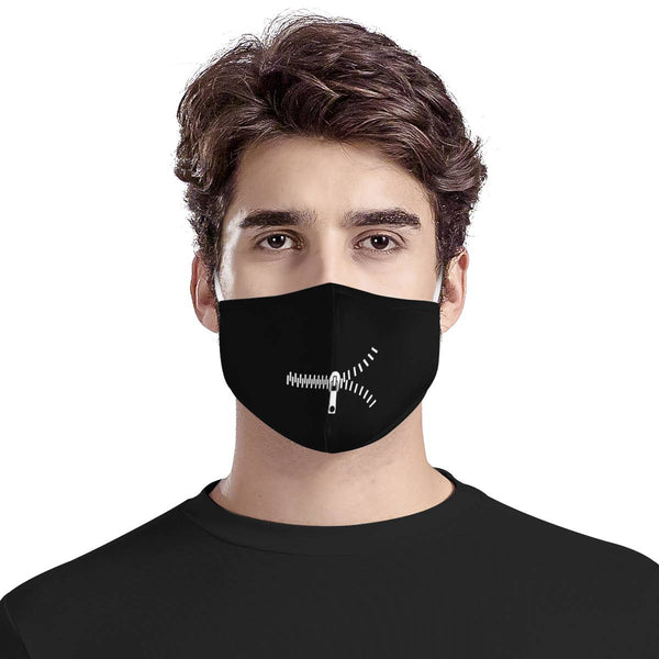 Hip Hop Streetwear Zipper Mouth | CDC Rec 3 Layer Face Mask w/ Fitted Nose Wire, Anti Dust Filters, Reusable, Adjustable Straps (Handmade)