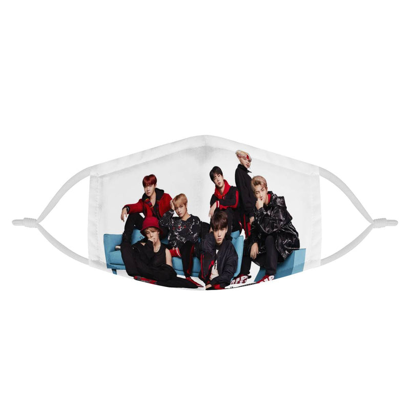 BTS | Kpop Fashion Streetwear Cotton Face Mask | CDC Rec 3 Layer Face Mask w/ Fitted Nose Wire, Anti Dust Filters, Reusable, Adjustable Straps (Handmade)