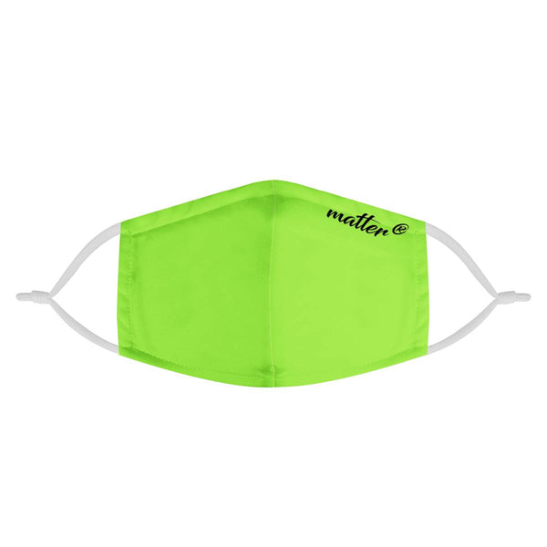 Solid Neon Lime Green Matter Mask | CDC Rec 3 Layer Face Mask w/ Fitted Nose Wire, Anti Dust Filters, Reusable, Adjustable Straps (Handmade)