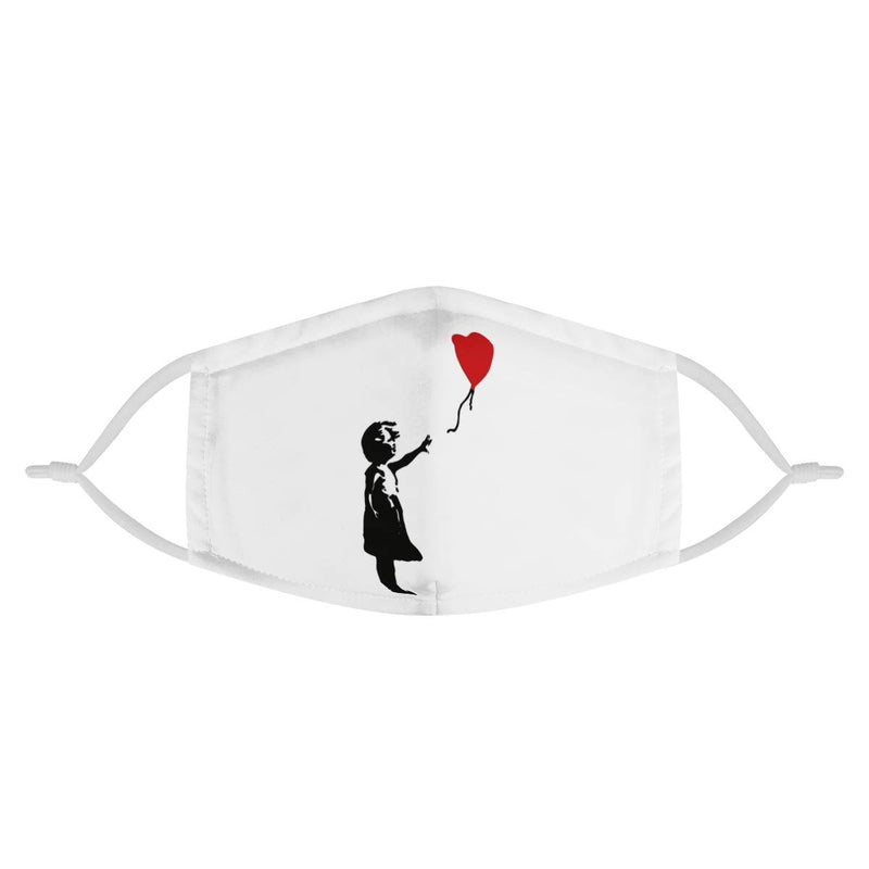 Girl with Red Balloon Graffiti Youth Kids Mask / Triple Layer Mask w/ Fitted Nose Wire, w/ Anti Dust Filters, Reusable, Adjustable Straps