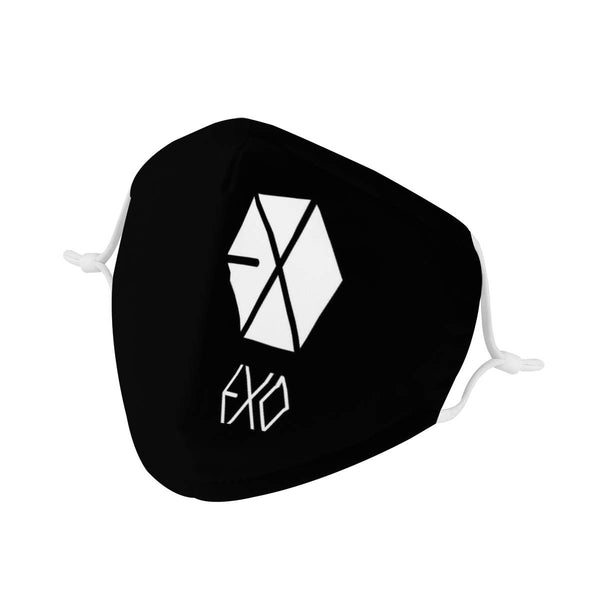 EXO Logo | CDC Rec 3 Layer Face Mask w/ Fitted Nose Wire, Anti Dust Filters, Reusable, Adjustable Straps (Handmade)