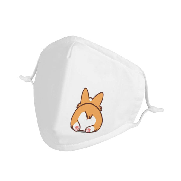 Corgi Butt | CDC Rec 3 Layer Face Mask w/ Fitted Nose Wire, Anti Dust Filters, Reusable, Adjustable Straps (Handmade)