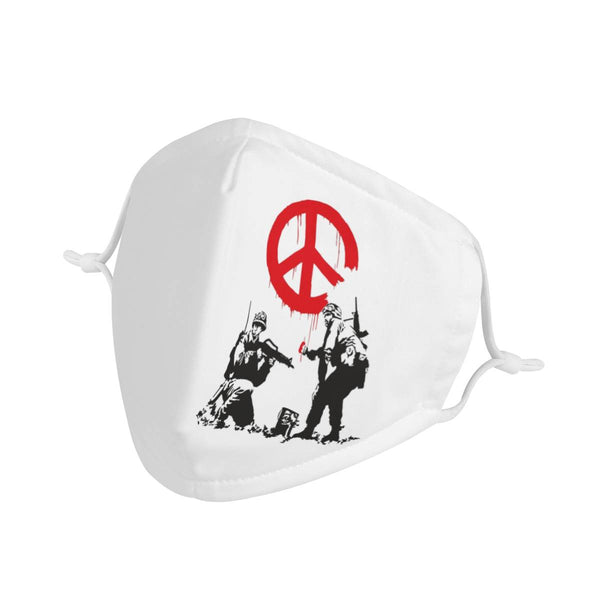 World Peace Graffiti | CDC Rec 3 Layer Face Mask w/ Fitted Nose Wire, Anti Dust Filters, Reusable, Adjustable Straps (Handmade)