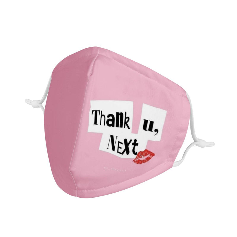 Youth Kids Thank U, Next | CDC Rec 3 Layer Face Mask w/ Fitted Nose Wire, Anti Dust Filters, Reusable, Adjustable Straps (Handmade)