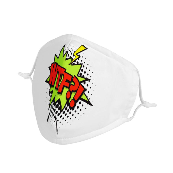 WTF?! Comic Strip Graphic | 100% Soft Pima Cotton Triple Layer Face Mask
