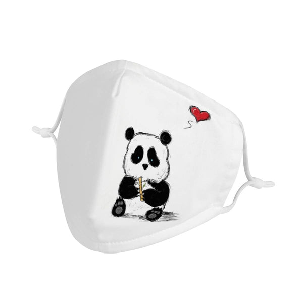 Baby Panda Bear Cartoon Graphic | CDC Rec 3 Layer Face Mask w/ Fitted Nose Wire, Anti Dust Filters, Reusable, Adjustable Straps (Handmade)