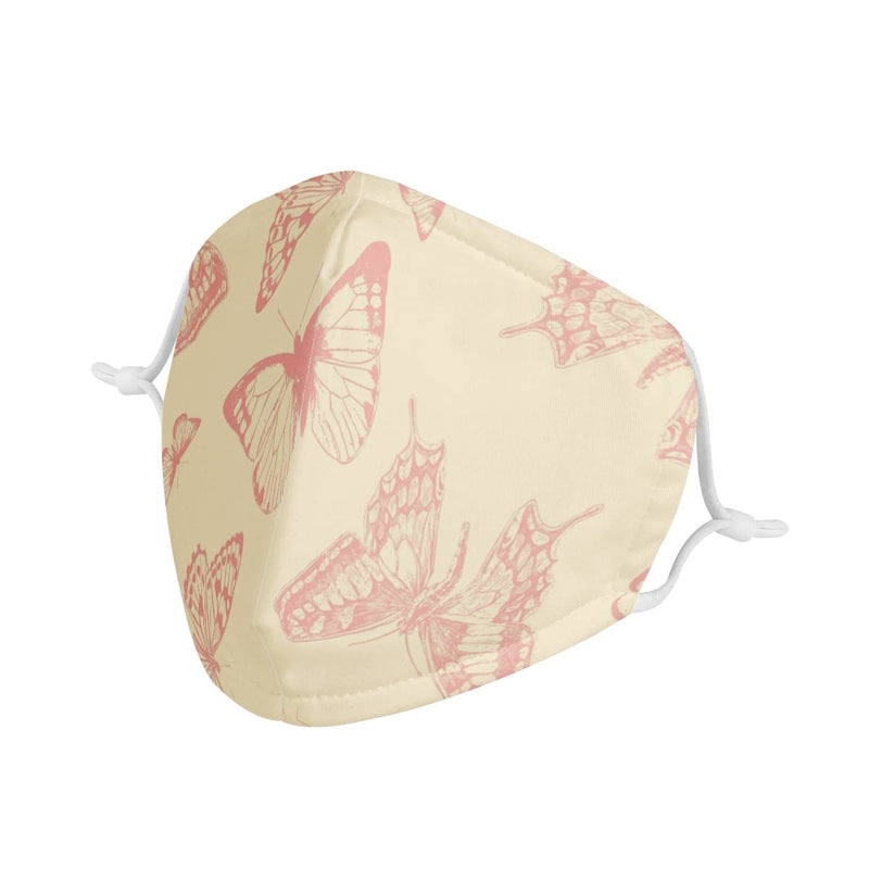 Butterfly Garden | CDC Rec 3 Layer Face Mask w/ Fitted Nose Wire, Anti Dust Filters, Reusable, Adjustable Straps (Handmade)