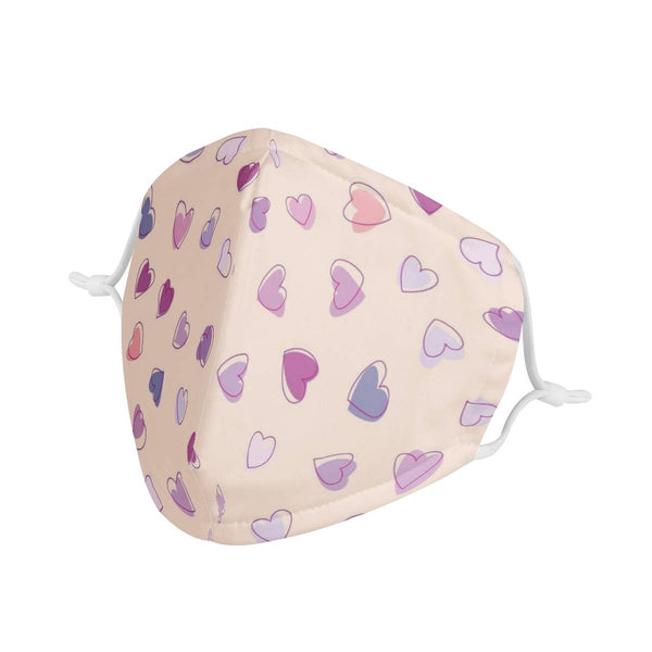 Lovey Dovey Hearts | CDC Rec 3 Layer Face Mask w/ Fitted Nose Wire, Anti Dust Filters, Reusable, Adjustable Straps (Handmade)