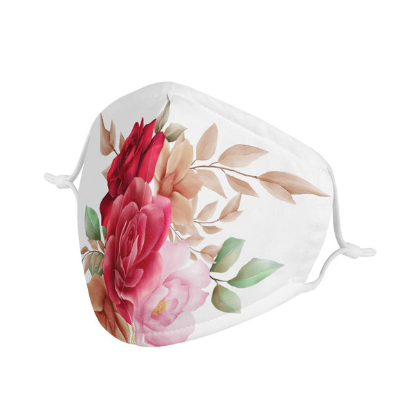 Rosy Love | CDC Rec 3 Layer Face Mask w/ Fitted Nose Wire, Anti Dust Filters, Reusable, Adjustable Straps (Handmade)