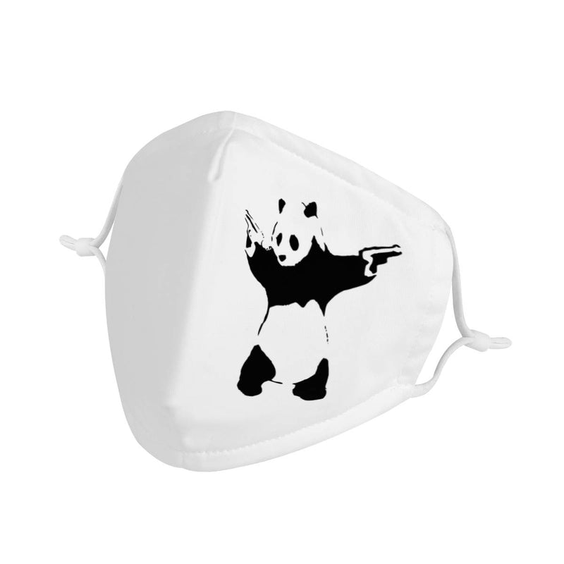 Crazy Panda Graphic Graffiti | CDC Rec 3 Layer Face Mask w/ Fitted Nose Wire, Anti Dust Filters, Reusable, Adjustable Straps (Handmade)