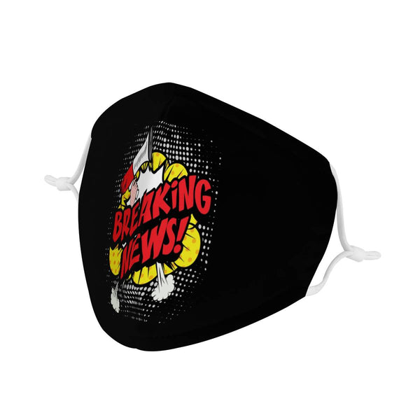 BREAKING NEWS! Comic Strip Graphic | 100% Soft Pima Cotton Triple Layer Face Mask