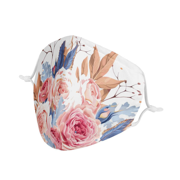 Floral Lady | CDC Rec 3 Layer Face Mask w/ Fitted Nose Wire, Anti Dust Filters, Reusable, Adjustable Straps (Handmade)