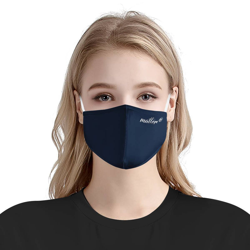 Solid Navy Matter Mask | CDC Rec 3 Layer Face Mask w/ Fitted Nose Wire, Anti Dust Filters, Reusable, Adjustable Straps (Handmade)