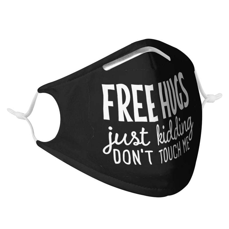 Youth Kids Free Hugs. Just Kidding. Don't Touch Me. | CDC Rec 3 Layer Face Mask w/ Fitted Nose Wire, Anti Dust Filters, Reusable, Adjustable Straps (Handmade)