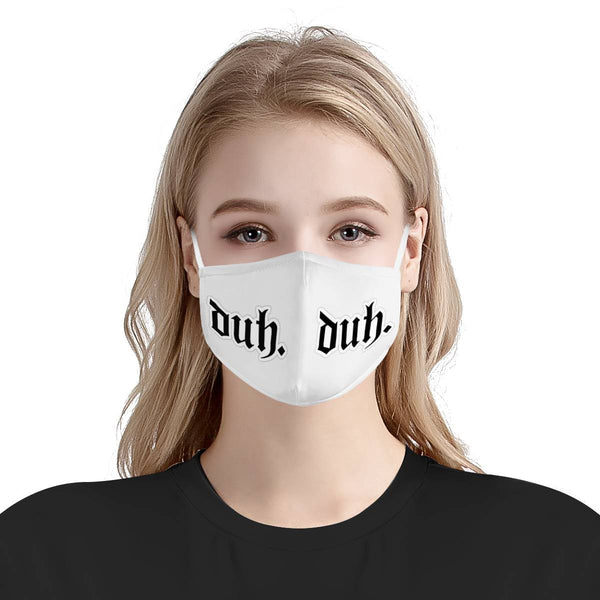 Duh. Bad Guy | CDC Rec 3 Layer Face Mask w/ Fitted Nose Wire, Anti Dust Filters, Reusable, Adjustable Straps (Handmade)