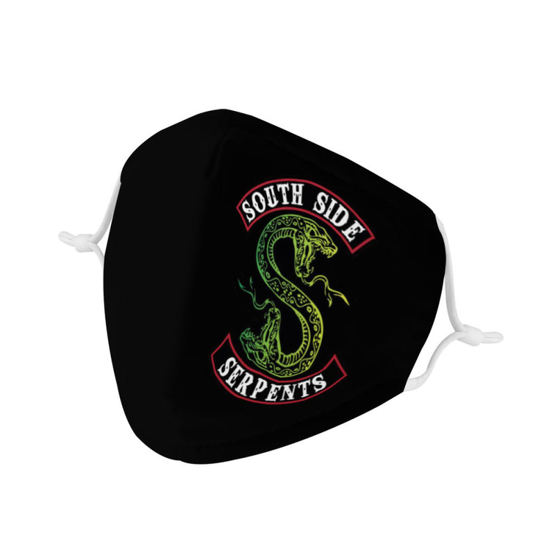 Riverdale South Side Serpents Face Mask / CDC Rec Fashion Mask w/ Anti Dust Protection Filters / Fabric, Handmade, 3 Layer, Cute Cartoon