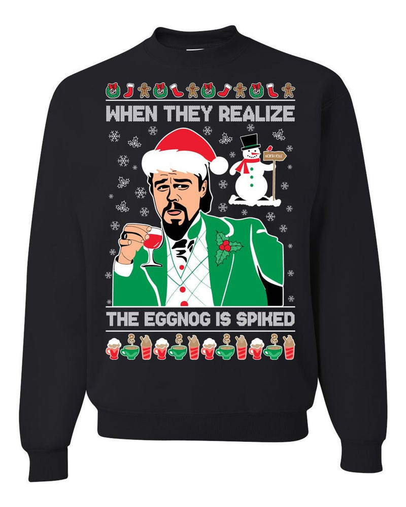 Eggnog is Spiked (Thick Sweater) Cute Ugly Christmas Sweater