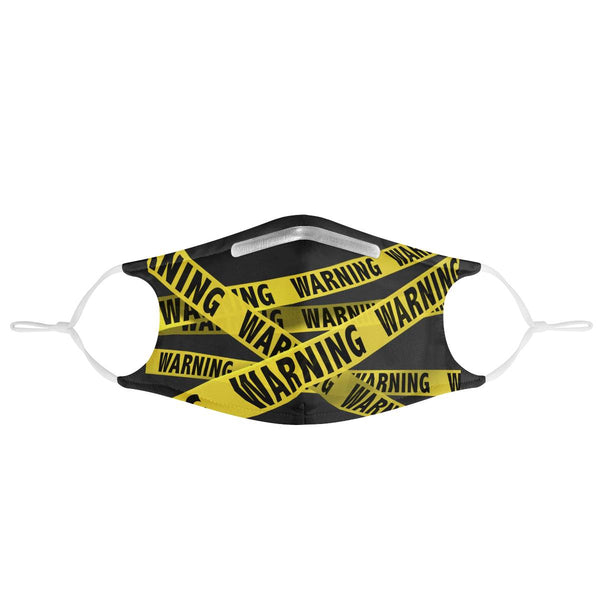Warning Caution Tape | CDC Rec 3 Layer Face Mask w/ Fitted Nose Wire, Anti Dust Filters, Reusable, Adjustable Straps (Handmade)