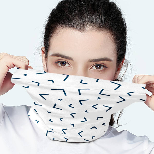 Sprinkle Pattern White Scarf Wrap Mask | Fashion Face Mask