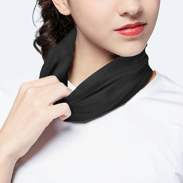 Solid Dark Grey Pewter  Scarf Wrap Mask | Fashion Face Mask