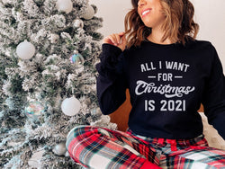 All I Want 2021 (Thick Sweater) Cute Ugly Christmas Sweater