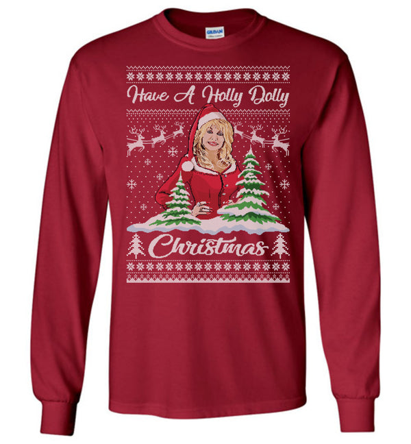 Holly Dolly (LONG SLEEVE TEE) Cute Ugly Christmas Sweater