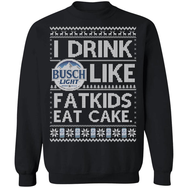 Drink Light (LONG SLEEVE TEE) Cute Ugly Christmas Sweater