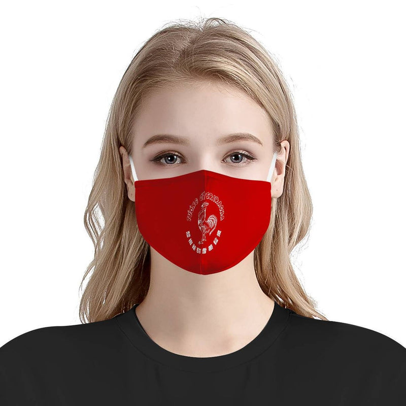 Red Sriracha Graphic Pattern Cute Fashion Face Mask / Soft & Silky Triple Layer Face Mask w/ Anti Dust Protection, Filter Pockets, Handmade
