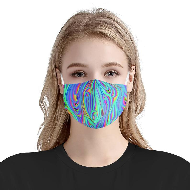 Hypnotic Disco Techno Blue Pink Pattern | Soft & Silky Triple Layer Anti Dust Face Mask w/ Nose Wire, Free Filters, Reusable, Handmade