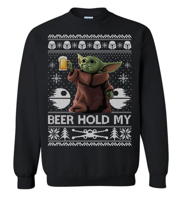 Beer Hold My (LONG SLEEVE TEE) Cute Ugly Christmas Sweater