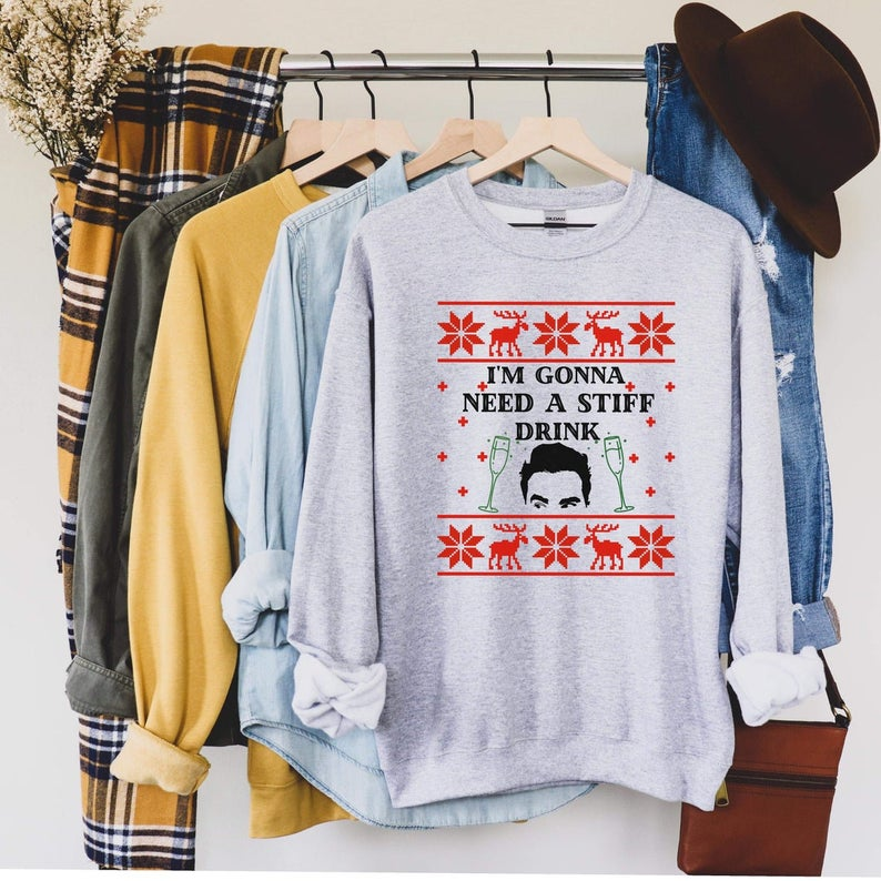 I'm Gonna Need a Stiff Drink (Thick Sweater) Cute Ugly Christmas Sweater