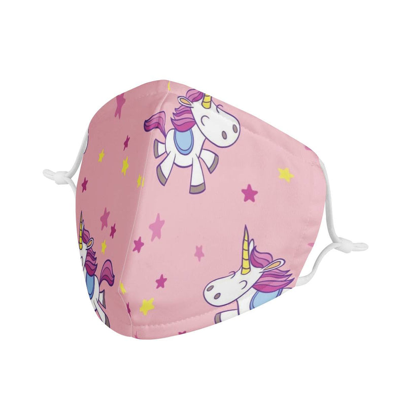 Girls Unicorn Graphic Pattern Kids Adorable Face Mask w/ Nose Wire, Free Filters, Handmade
