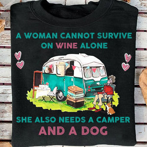 A Woman Wine Camper and A Dog