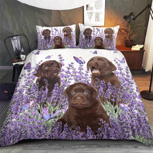 LABRADOR BEDDING SET PURPLE FLOWER