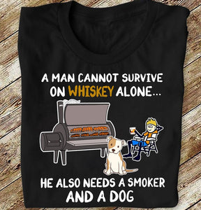 A Man Whiskey Smoker And A Dog