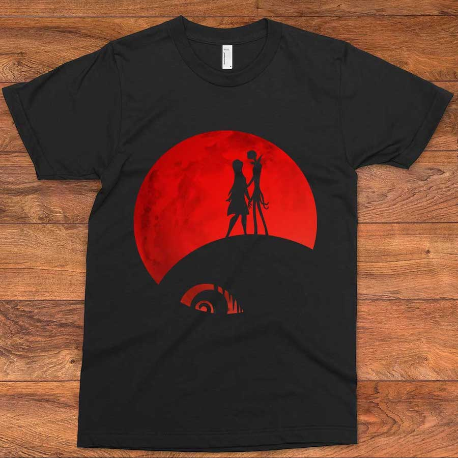 Jack and Sally Under the Red Moon Halloween T-Shirt