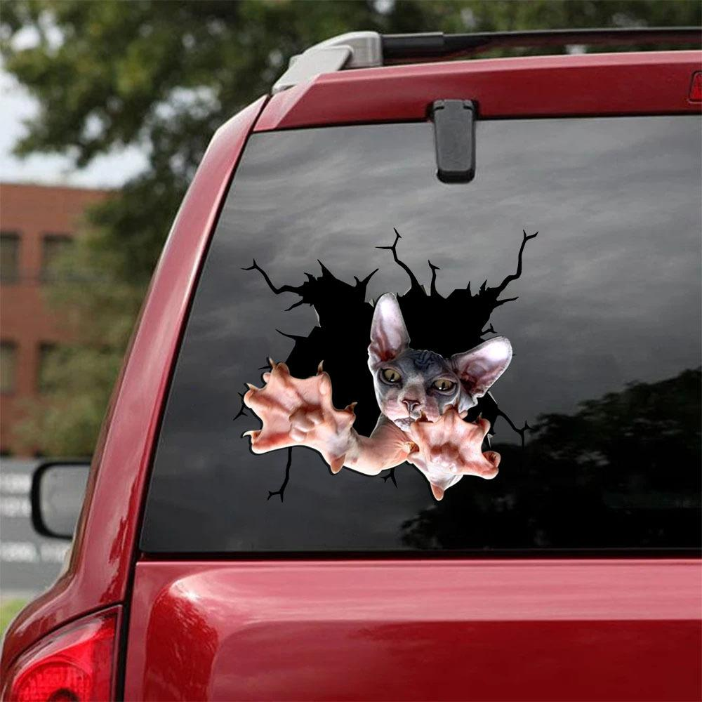 THE SPHYNX CRACK CAR STICKER CATS LOVER