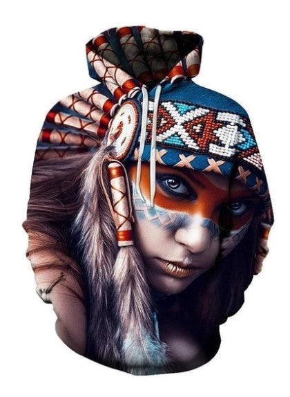 BLUE, RED AND WHITE NATIVE AMERICAN GIRL 3D HOODIE - NATIVE AMERICAN CLOTHING NVD1300