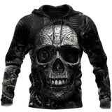 Mechanic Skull 3D All Over Printed Hoodie For Men and Women TN17
