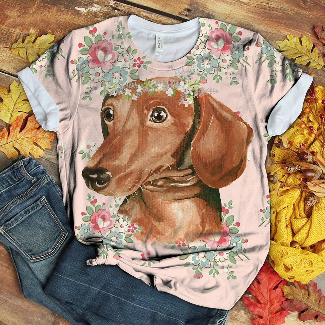 Dachshund Floral Love you T-Shirt 3