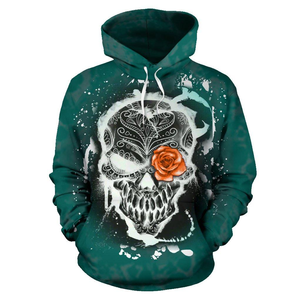 Skull And Rose All Over Hoodie
