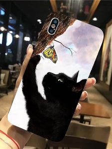 Black Cat Catches Butterfly Phone case