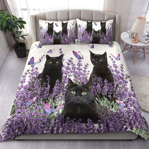 Black Cat BEDDING SET Purple Flower