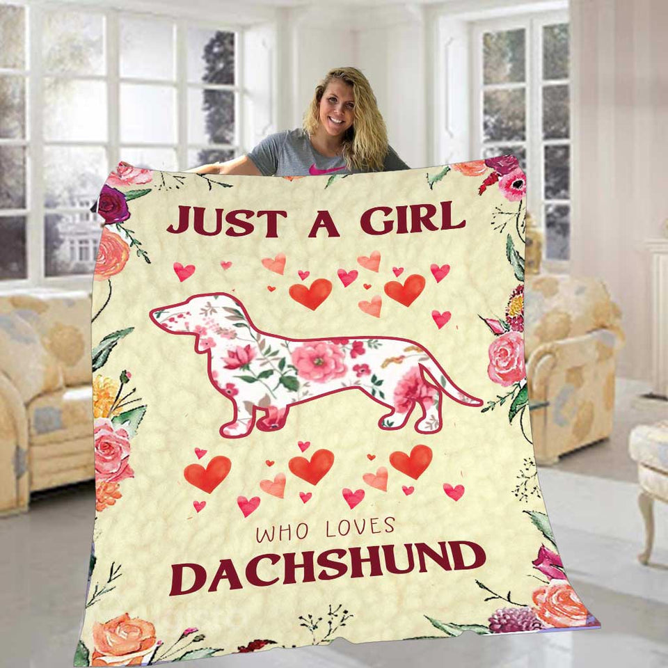 Just A Girl Who Loves Dachshund  Blanket 01