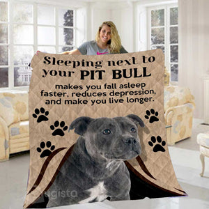 Sleeping Next To Your Pit Bull Blanket 01