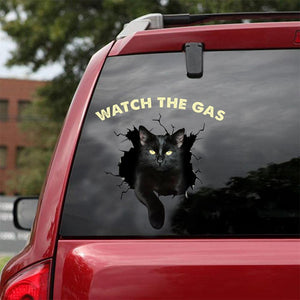 FUNNY BLACK CATS WATCH THE GAS STICKER LOVER