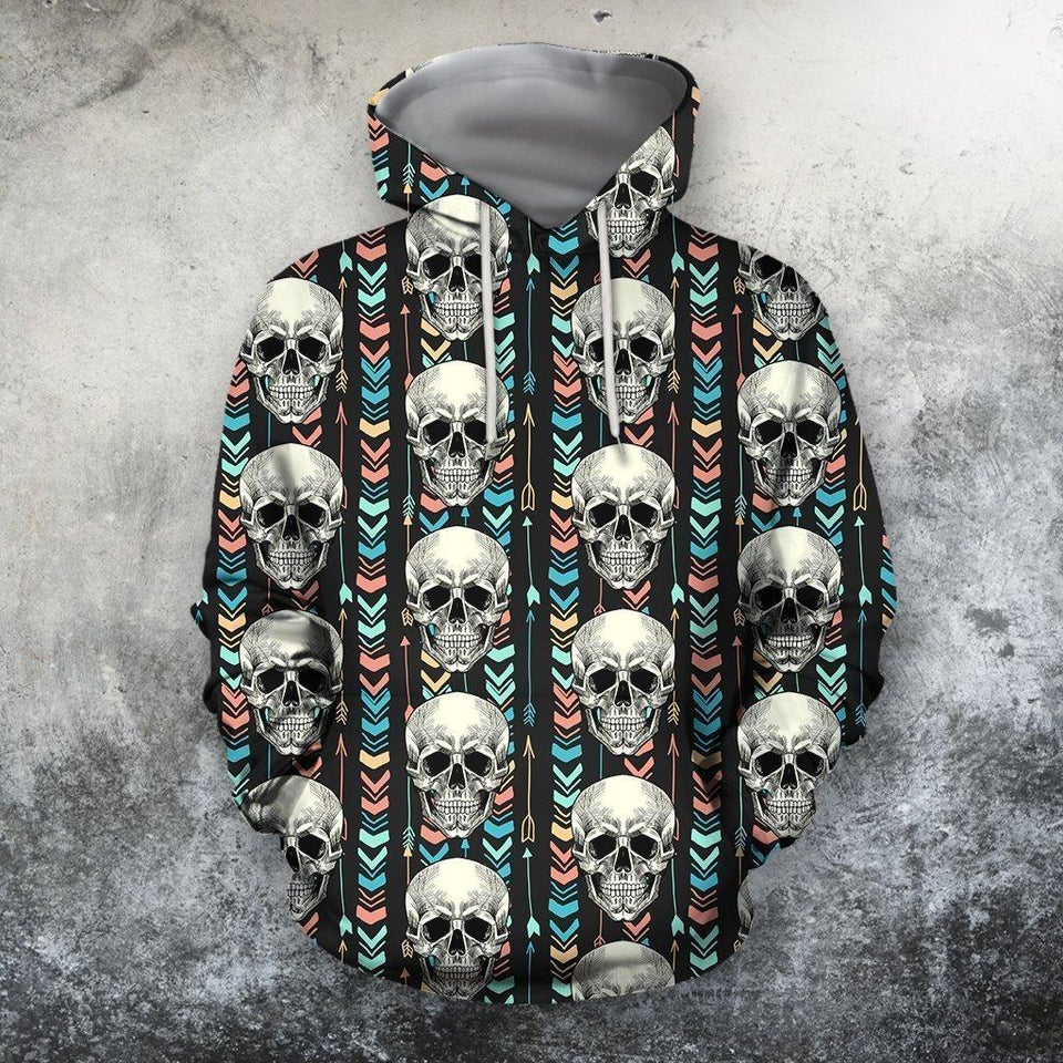 All Over Print The Skull Hoodie