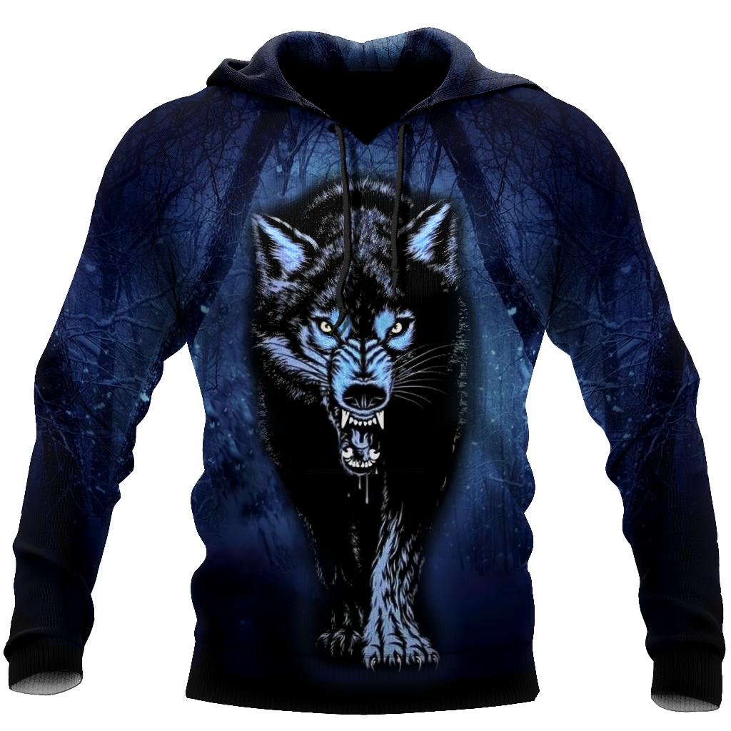 Night Wolf 3D All Over Print Hoodie T Shirt For Men and Women HHT07